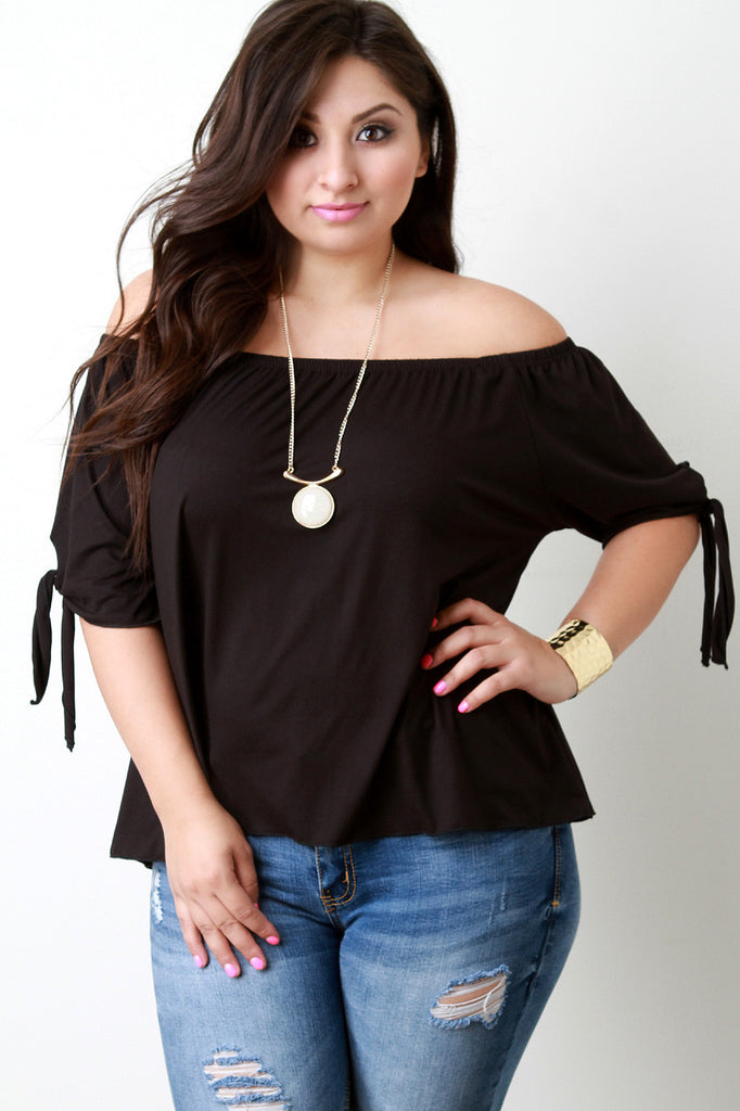 Off The Shoulder Self-Tie Elbow Sleeves Top - Rich Girl's Closet - 11