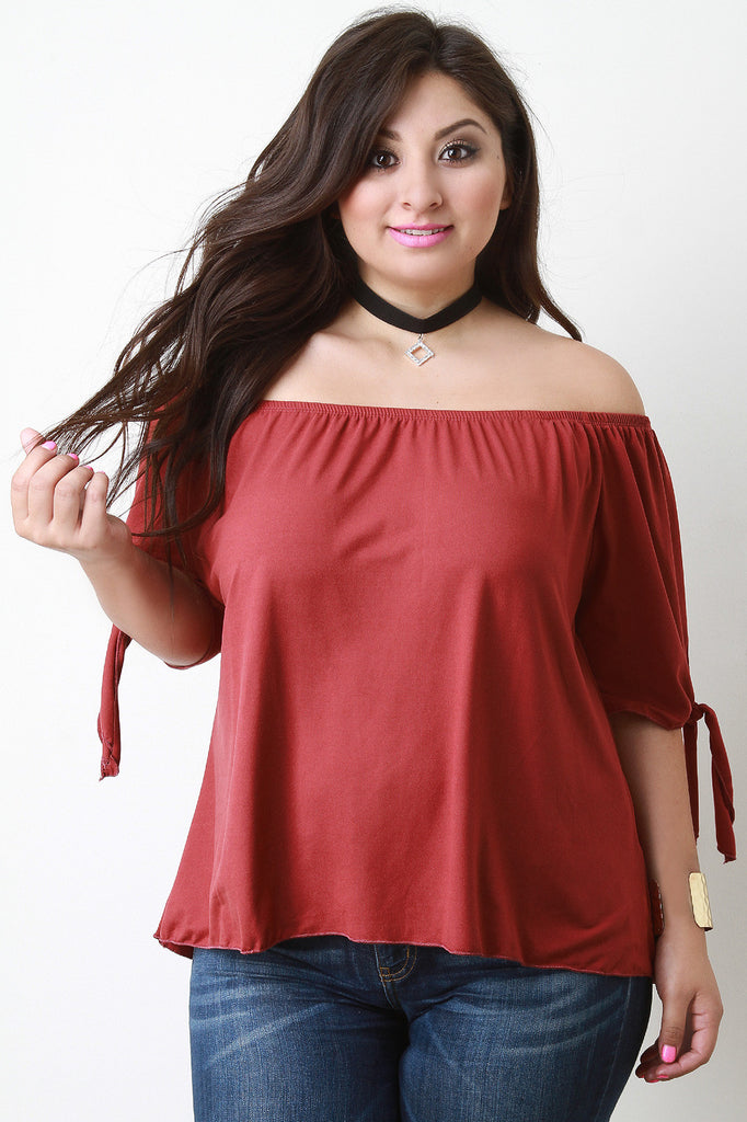 Off The Shoulder Self-Tie Elbow Sleeves Top - Rich Girl's Closet - 1
