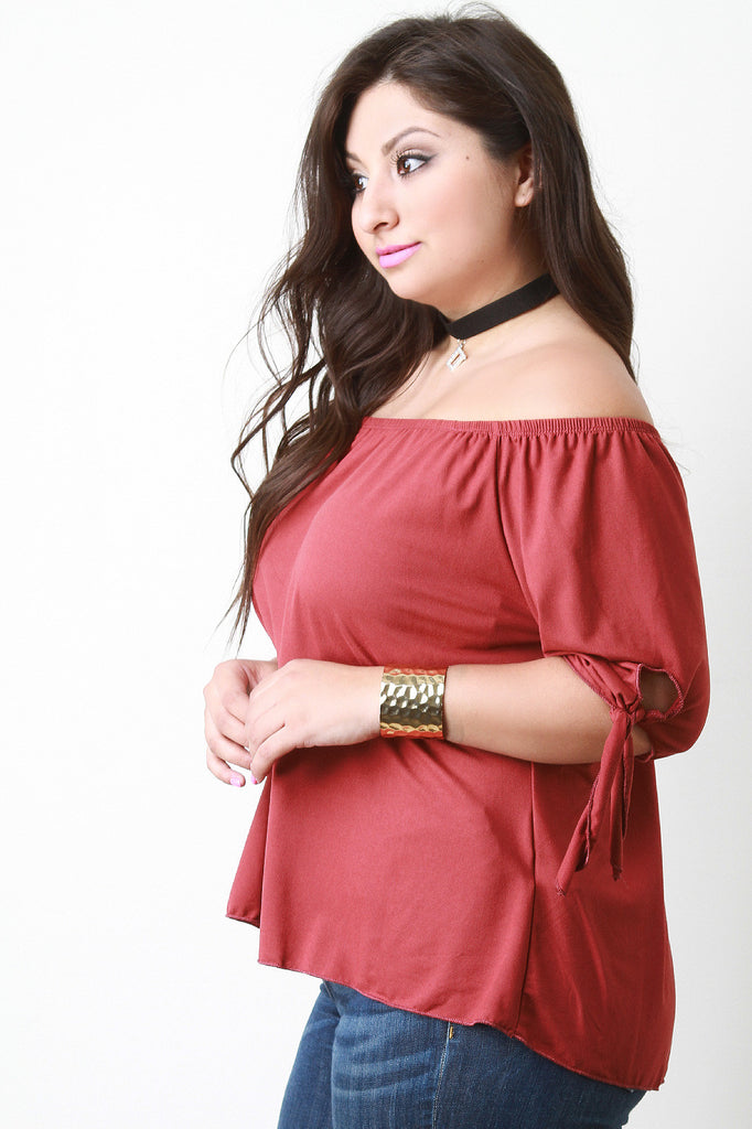 Off The Shoulder Self-Tie Elbow Sleeves Top - Rich Girl's Closet - 2