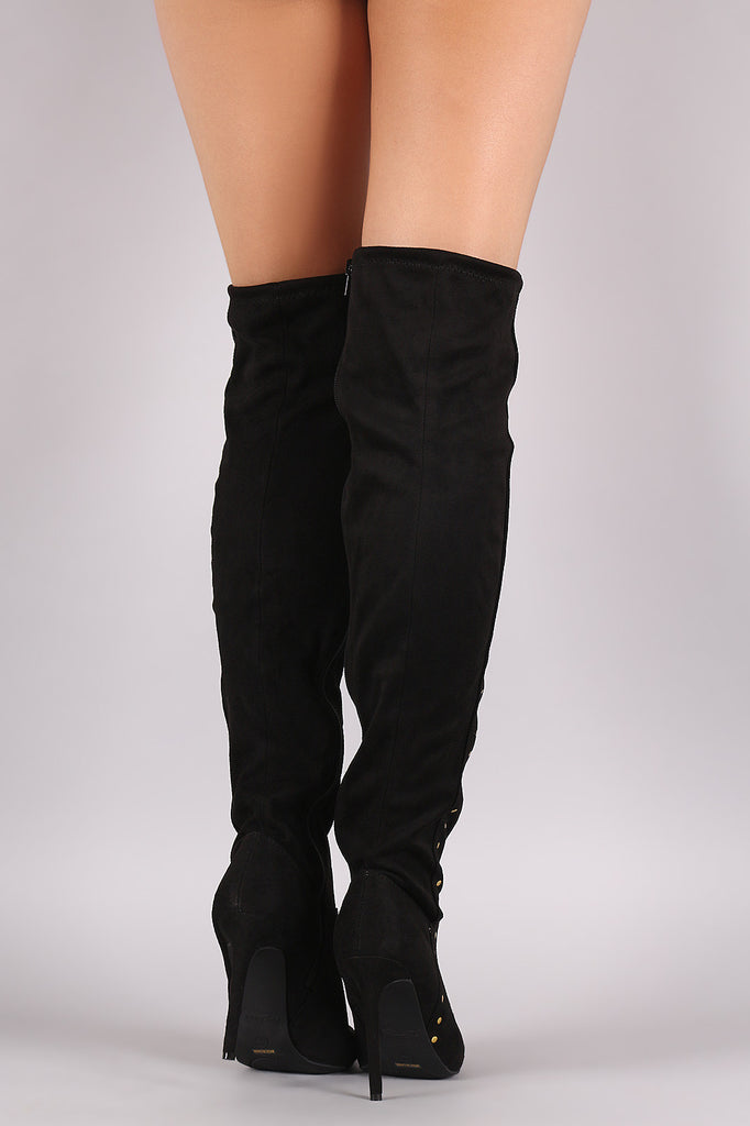 Anne Michelle Stretchy Suede Side Studded Over-The-Knee Boots - Rich Girl's Closet - 13