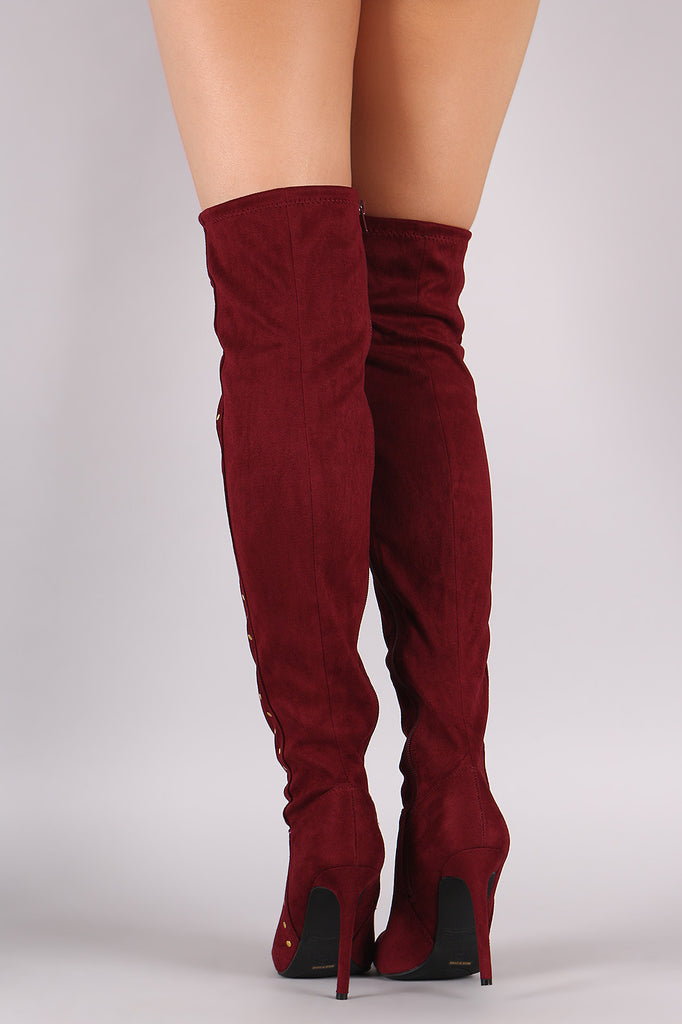 Anne Michelle Stretchy Suede Side Studded Over-The-Knee Boots - Rich Girl's Closet - 6