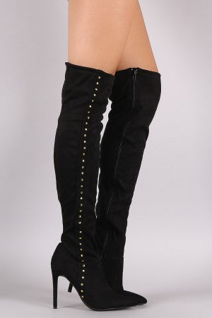 Anne Michelle Stretchy Suede Side Studded Over-The-Knee Boots - Rich Girl's Closet - 7