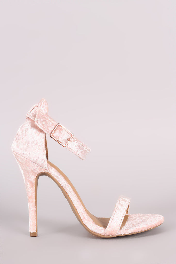 Anne Michelle Velvet Open Toe Ankle Strap Heel - Rich Girl's Closet - 11