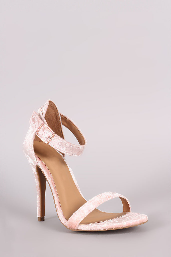Anne Michelle Velvet Open Toe Ankle Strap Heel - Rich Girl's Closet - 20