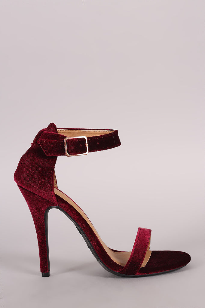 Anne Michelle Velvet Open Toe Ankle Strap Heel - Rich Girl's Closet - 1