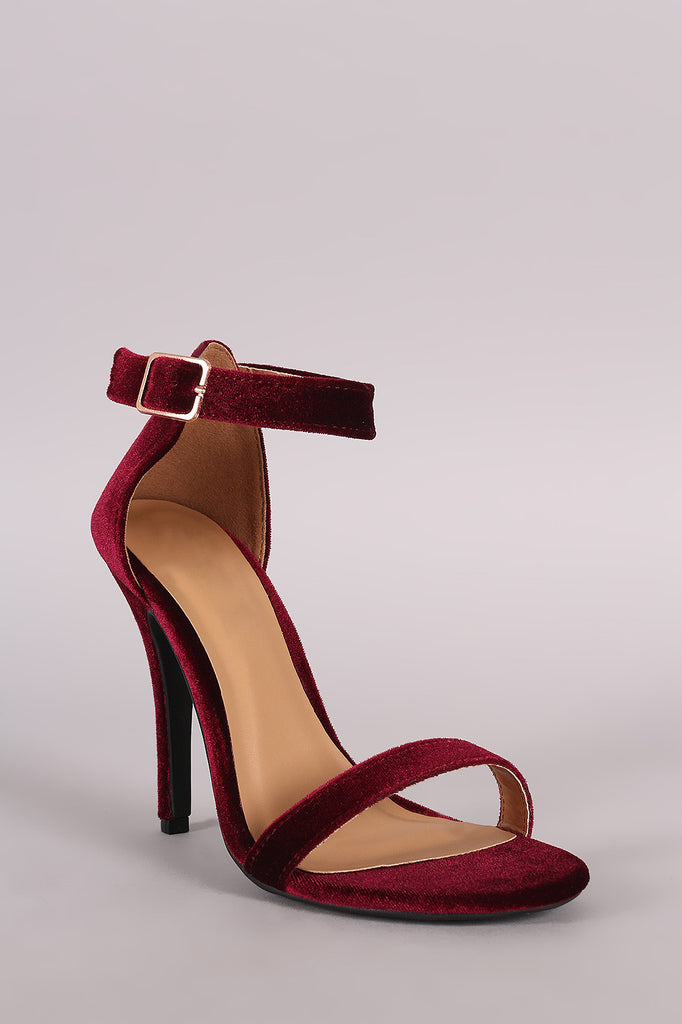 Anne Michelle Velvet Open Toe Ankle Strap Heel - Rich Girl's Closet - 2