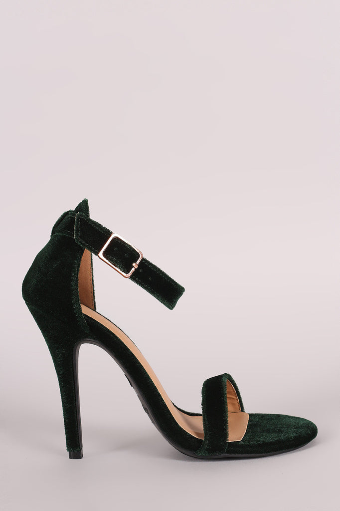 Anne Michelle Velvet Open Toe Ankle Strap Heel - Rich Girl's Closet - 9