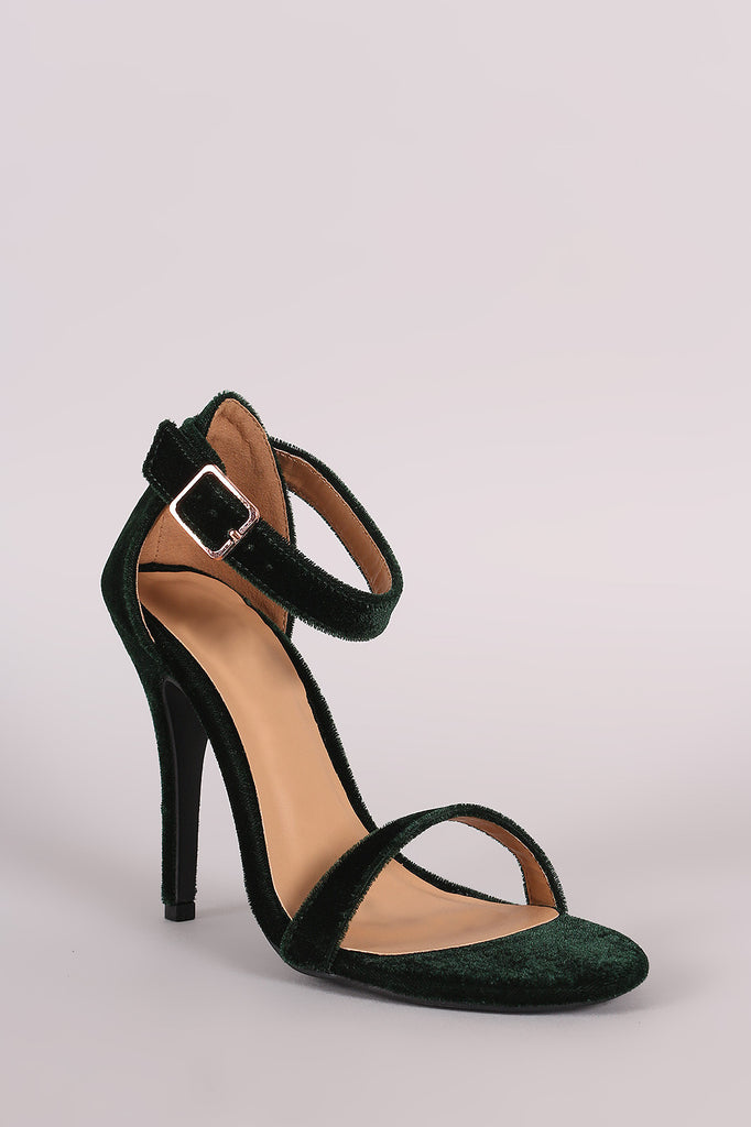 Anne Michelle Velvet Open Toe Ankle Strap Heel - Rich Girl's Closet - 10