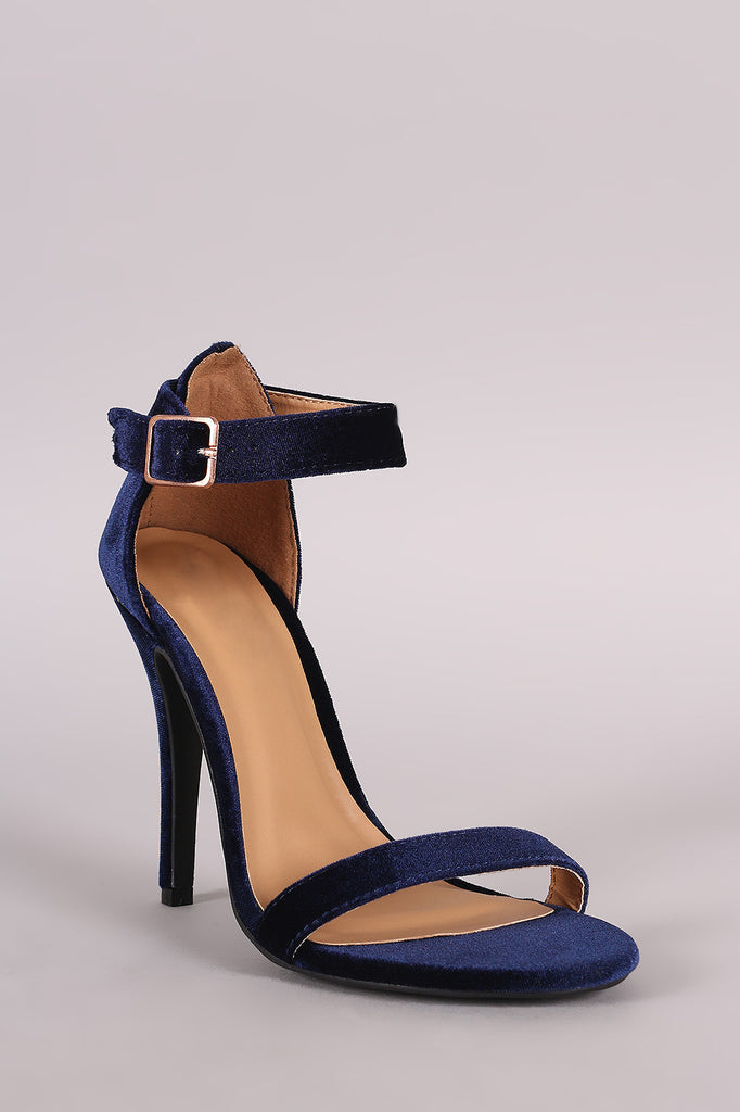 Anne Michelle Velvet Open Toe Ankle Strap Heel - Rich Girl's Closet - 23