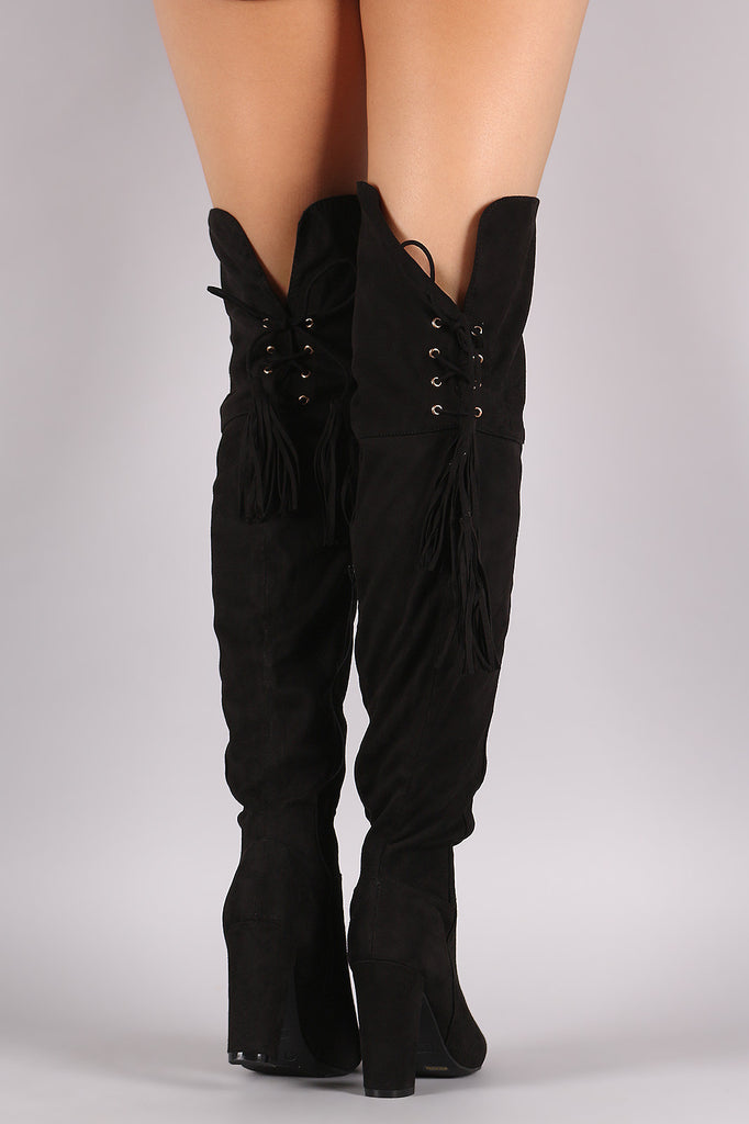Bamboo Suede Back Tassel Lace Up Chunky Heeled Boots - Rich Girl's Closet - 15