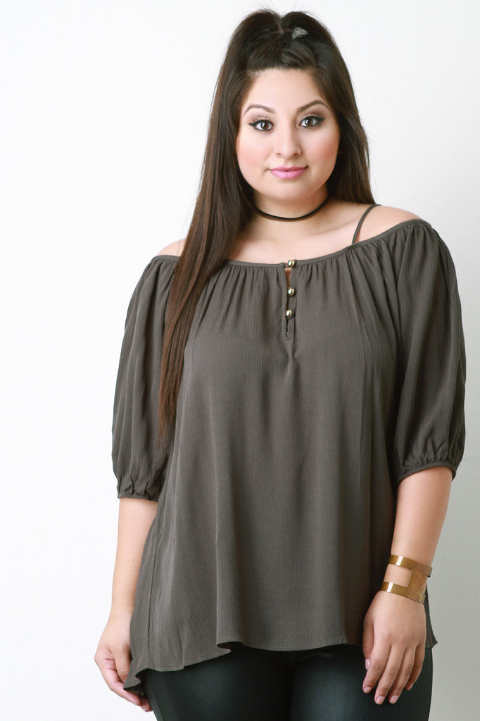 Cold Shoulder Button Detail Peasant Top - Rich Girl's Closet - 4