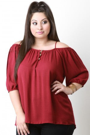 Cold Shoulder Button Detail Peasant Top - Rich Girl's Closet - 10