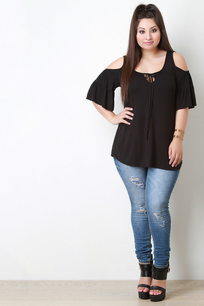 Cold Shoulders Ruffle Sleeves Top - Rich Girl's Closet - 6