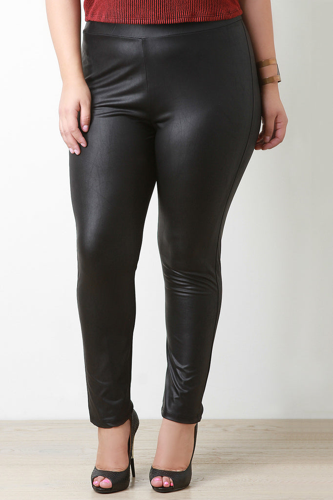 High Waisted Leather Leggings - Rich Girl's Closet - 2