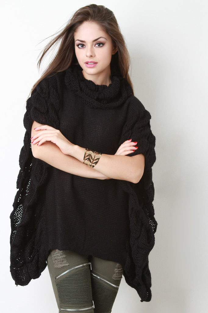 Quilted Knit Turtle Neck Poncho Top - Rich Girl's Closet - 4
