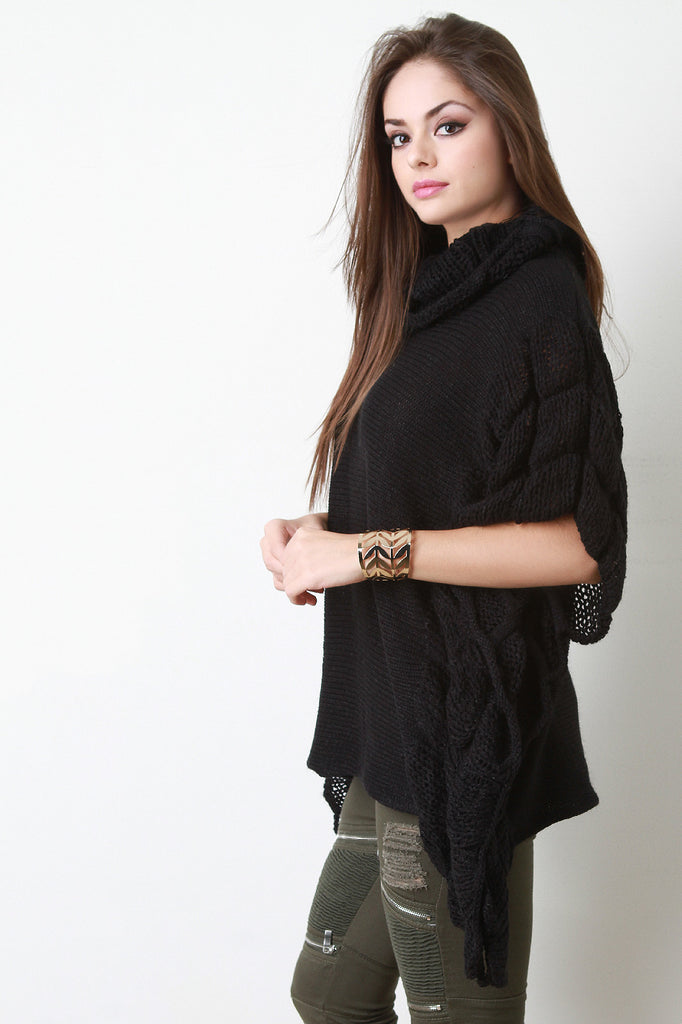 Quilted Knit Turtle Neck Poncho Top - Rich Girl's Closet - 5