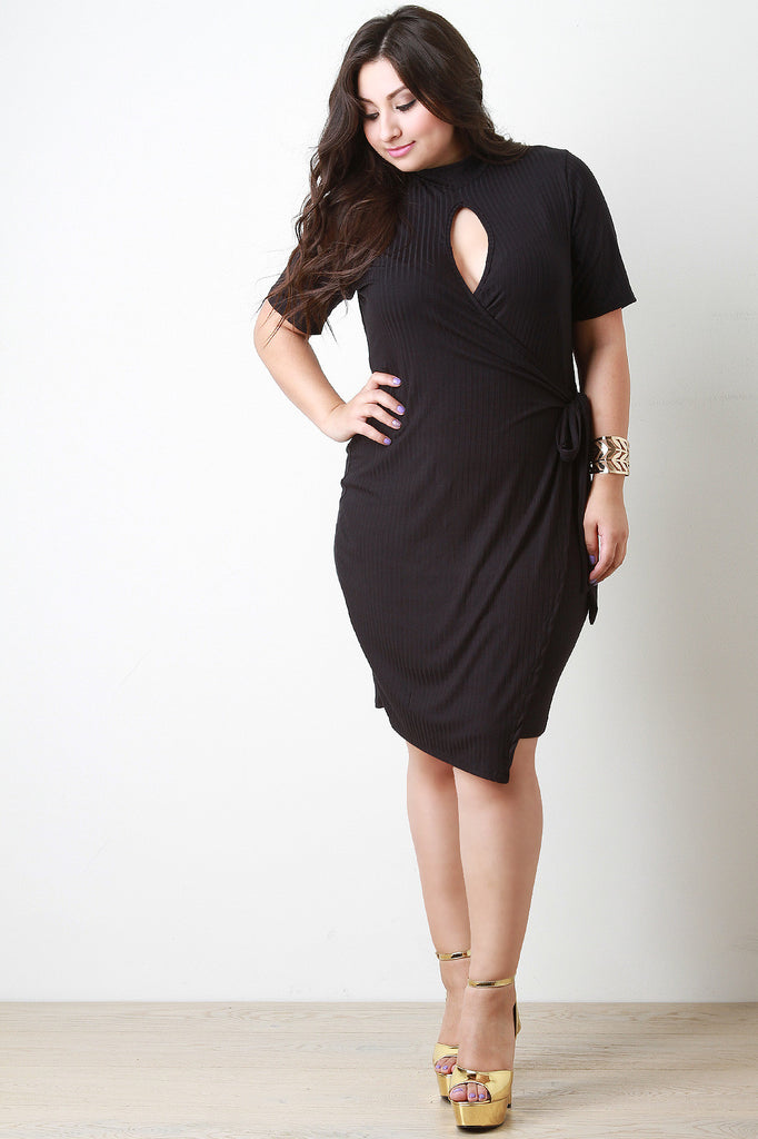 Keyhole Elbow Sleeves Wrap Dress - Rich Girl's Closet - 1