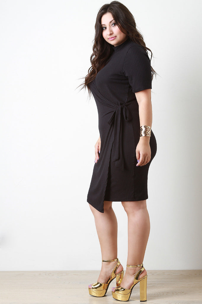 Keyhole Elbow Sleeves Wrap Dress - Rich Girl's Closet - 2