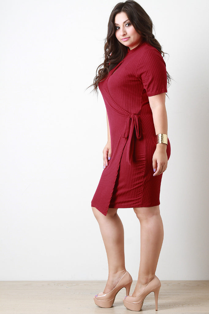 Keyhole Elbow Sleeves Wrap Dress - Rich Girl's Closet - 5