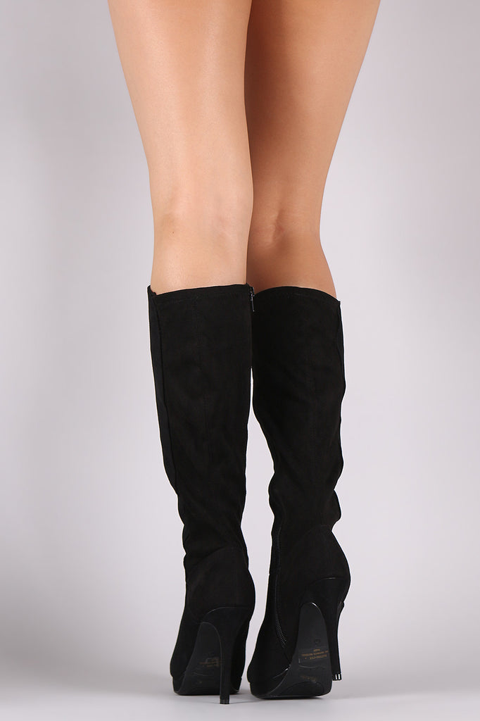 Anne Michelle Suede Almond Toe Knee High Boots - Rich Girl's Closet - 3