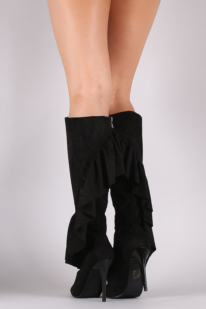 Suede Ruffle Pointy Toe Cutout Knee High Boots - Rich Girl's Closet - 9