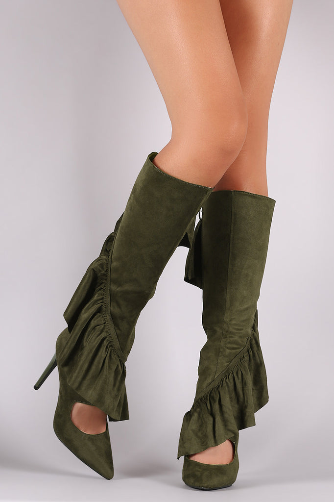 Suede Ruffle Pointy Toe Cutout Knee High Boots - Rich Girl's Closet - 1