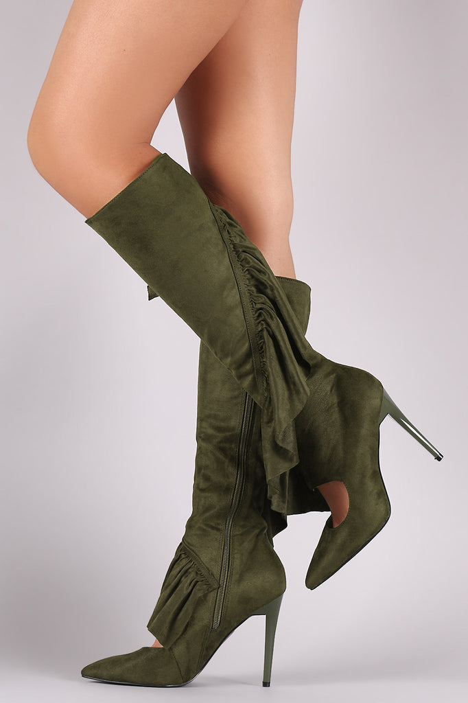 Suede Ruffle Pointy Toe Cutout Knee High Boots - Rich Girl's Closet - 18