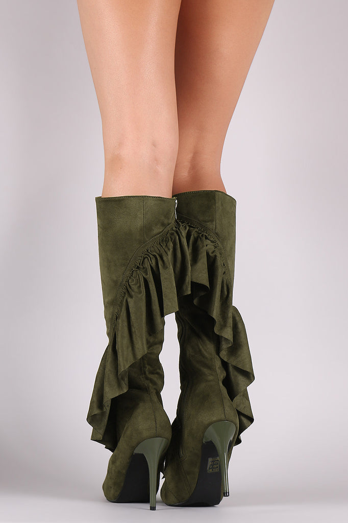 Suede Ruffle Pointy Toe Cutout Knee High Boots - Rich Girl's Closet - 3