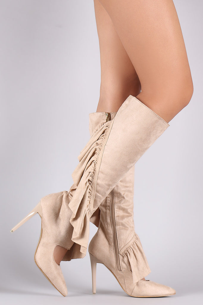 Suede Ruffle Pointy Toe Cutout Knee High Boots - Rich Girl's Closet - 11