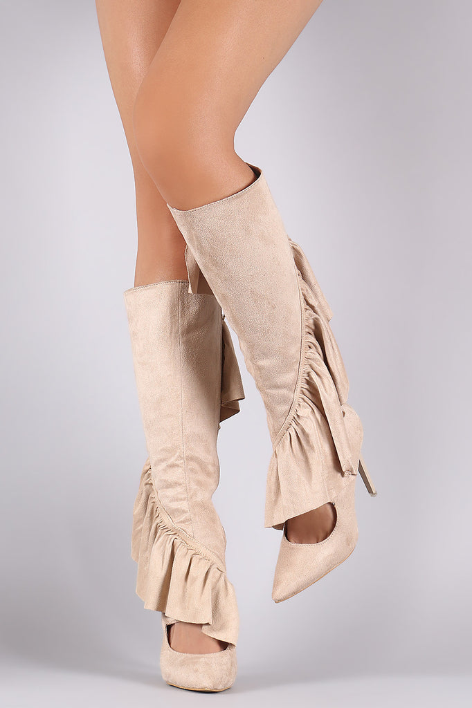 Suede Ruffle Pointy Toe Cutout Knee High Boots - Rich Girl's Closet - 12