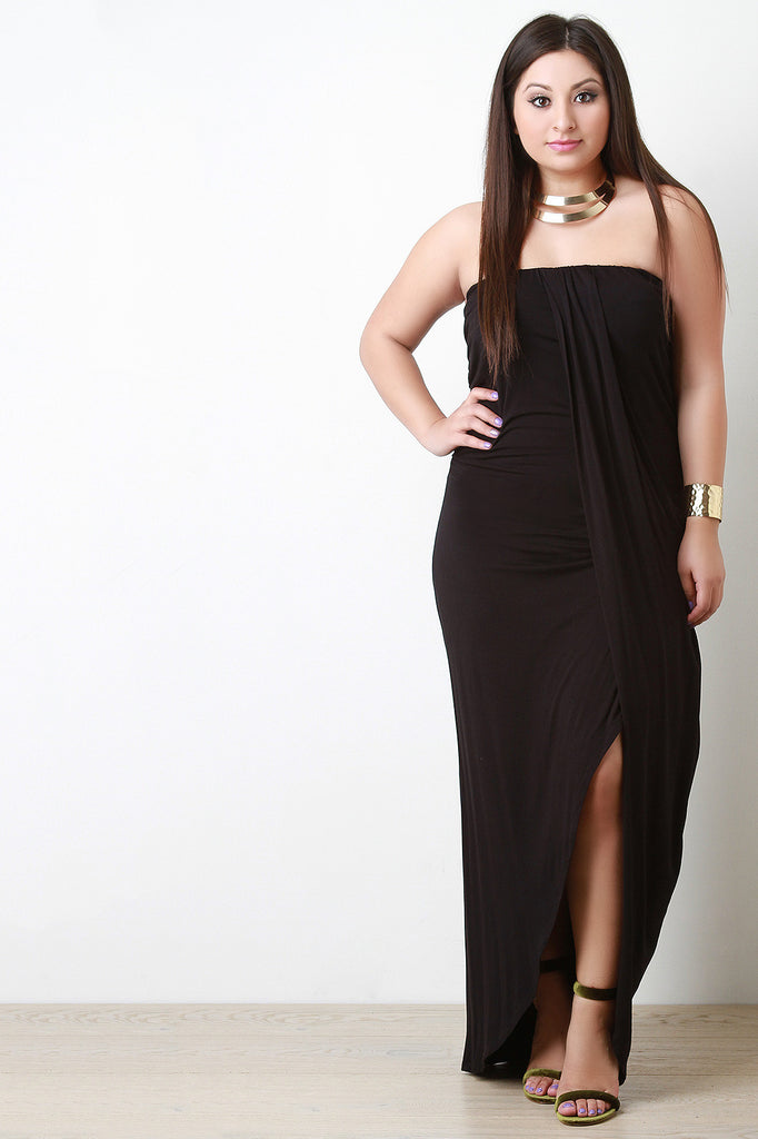 Strapless Wrap Style Maxi Dress - Rich Girl's Closet - 5
