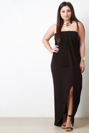 Strapless Wrap Style Maxi Dress - Rich Girl's Closet - 4