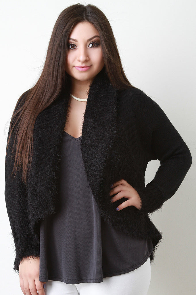 Shearling Trim Open Front Sweater - Rich Girl's Closet - 10