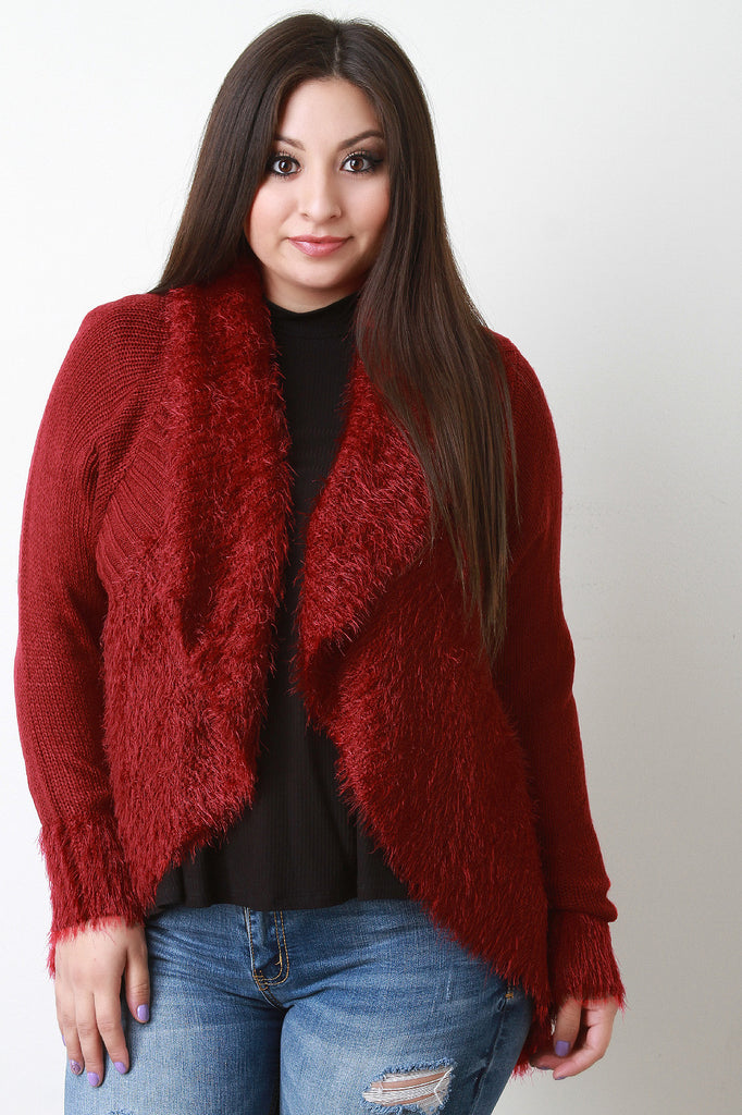 Shearling Trim Open Front Sweater - Rich Girl's Closet - 14