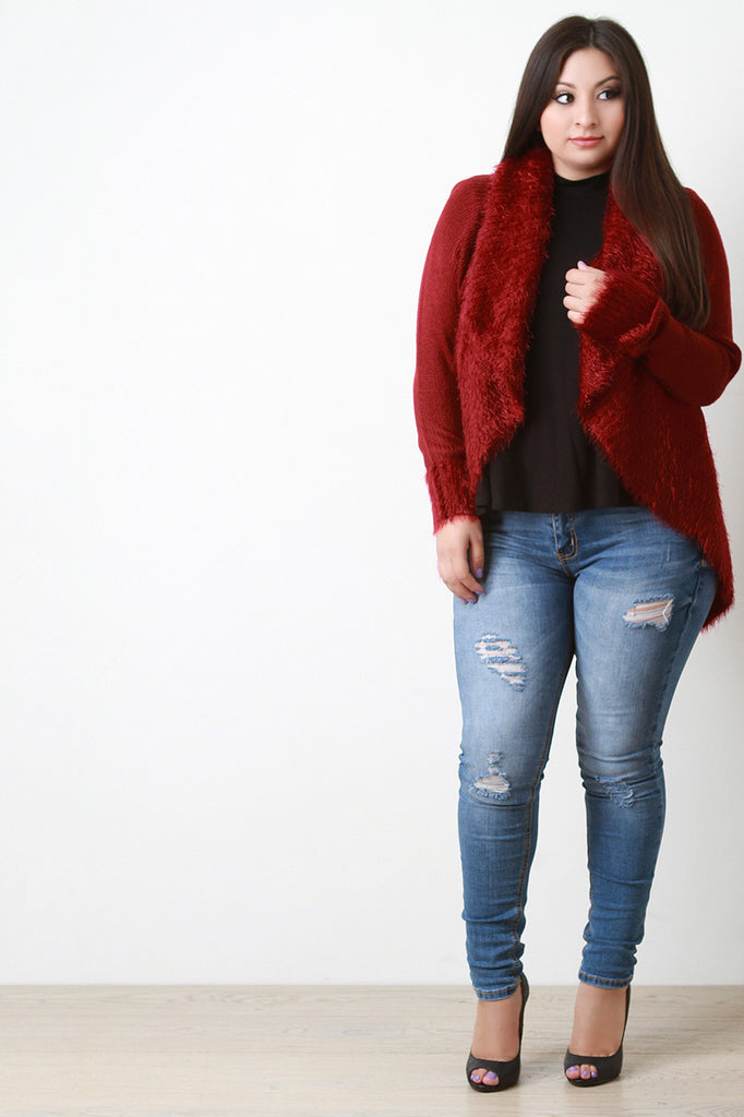 Shearling Trim Open Front Sweater - Rich Girl's Closet - 16