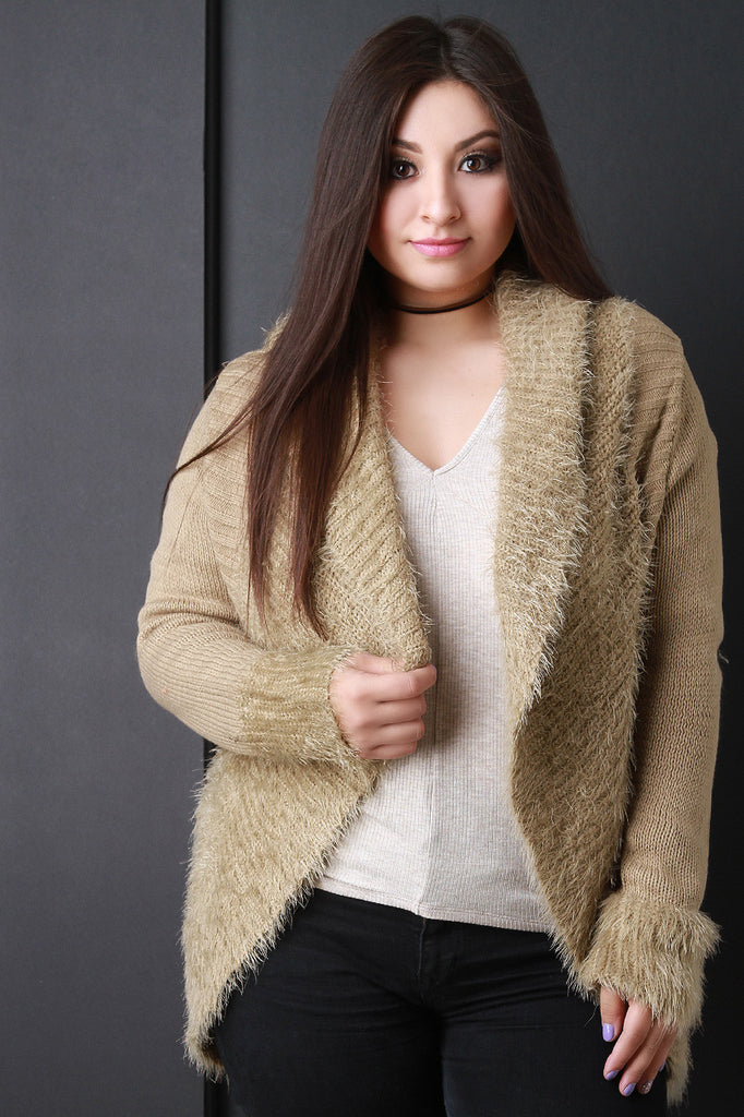 Shearling Trim Open Front Sweater - Rich Girl's Closet - 4
