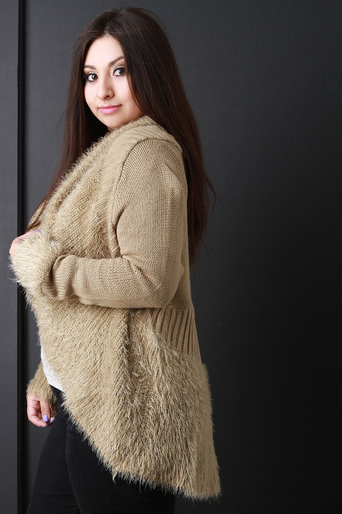 Shearling Trim Open Front Sweater - Rich Girl's Closet - 5