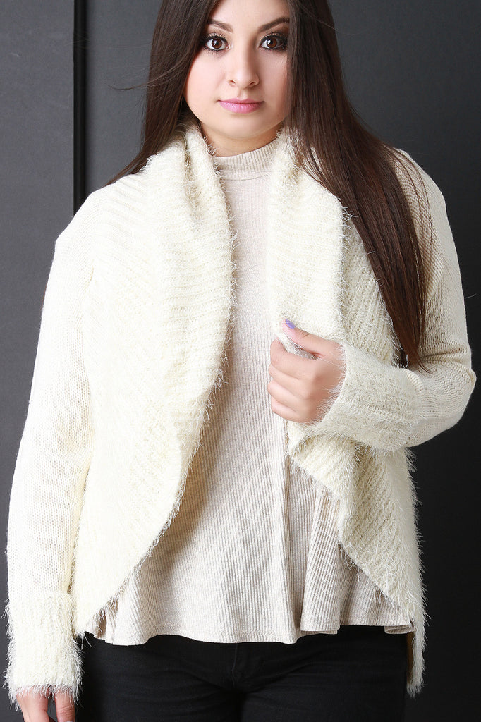Shearling Trim Open Front Sweater - Rich Girl's Closet - 7
