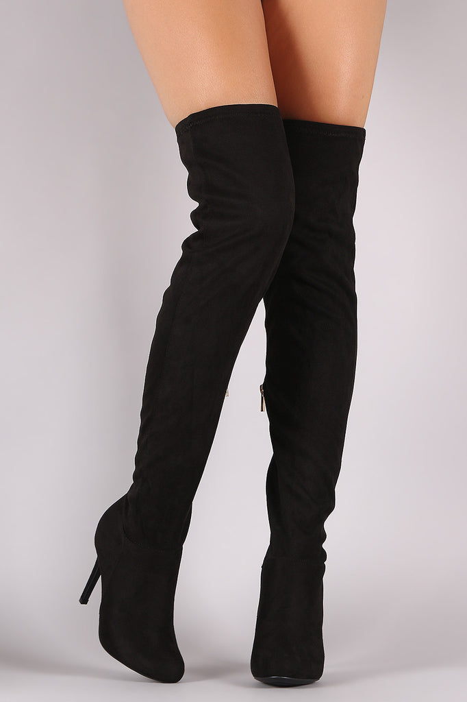 Anne Michelle Fitted Suede Stiletto Over-The-Knee Boots - Rich Girl's Closet - 12