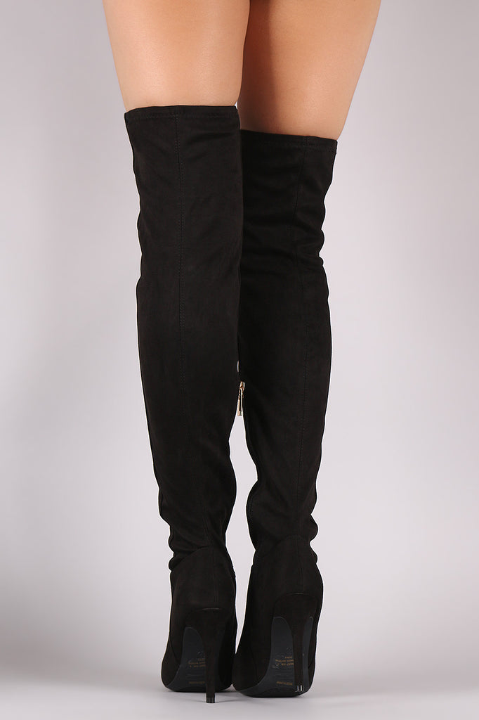 Anne Michelle Fitted Suede Stiletto Over-The-Knee Boots - Rich Girl's Closet - 6
