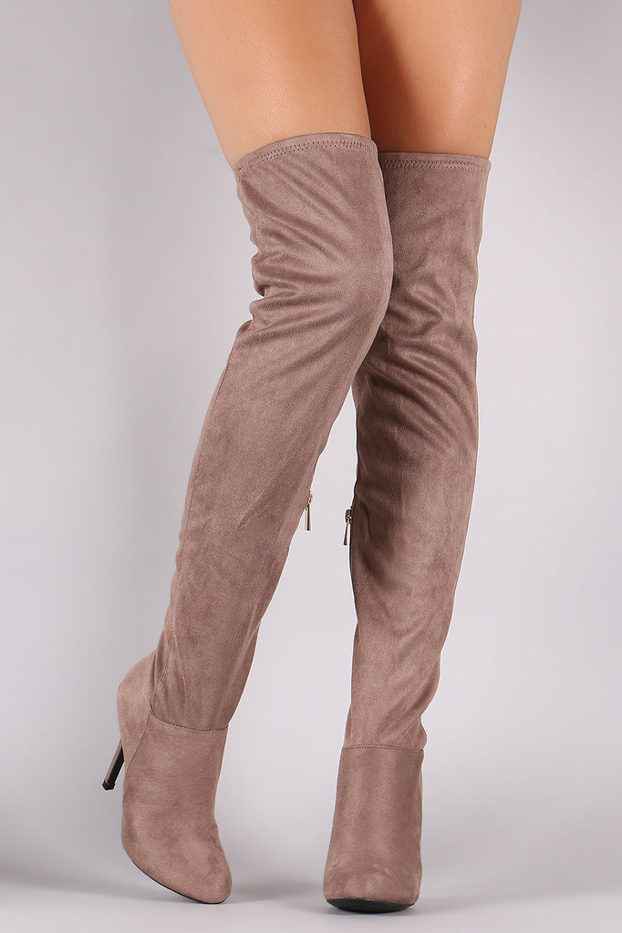 Anne Michelle Fitted Suede Stiletto Over-The-Knee Boots - Rich Girl's Closet - 8