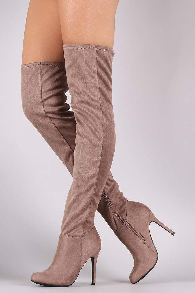 Anne Michelle Fitted Suede Stiletto Over-The-Knee Boots - Rich Girl's Closet - 9