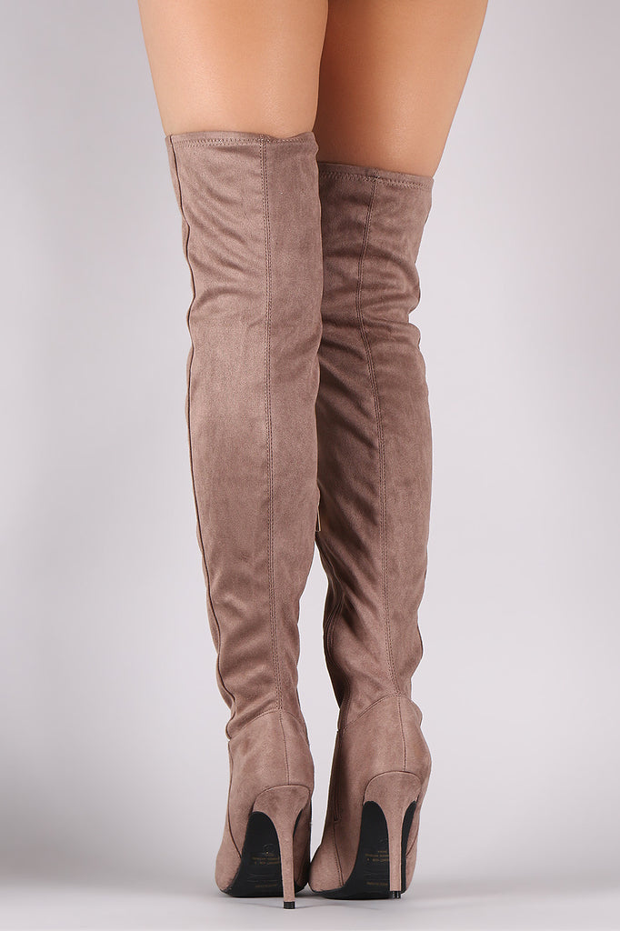 Anne Michelle Fitted Suede Stiletto Over-The-Knee Boots - Rich Girl's Closet - 10