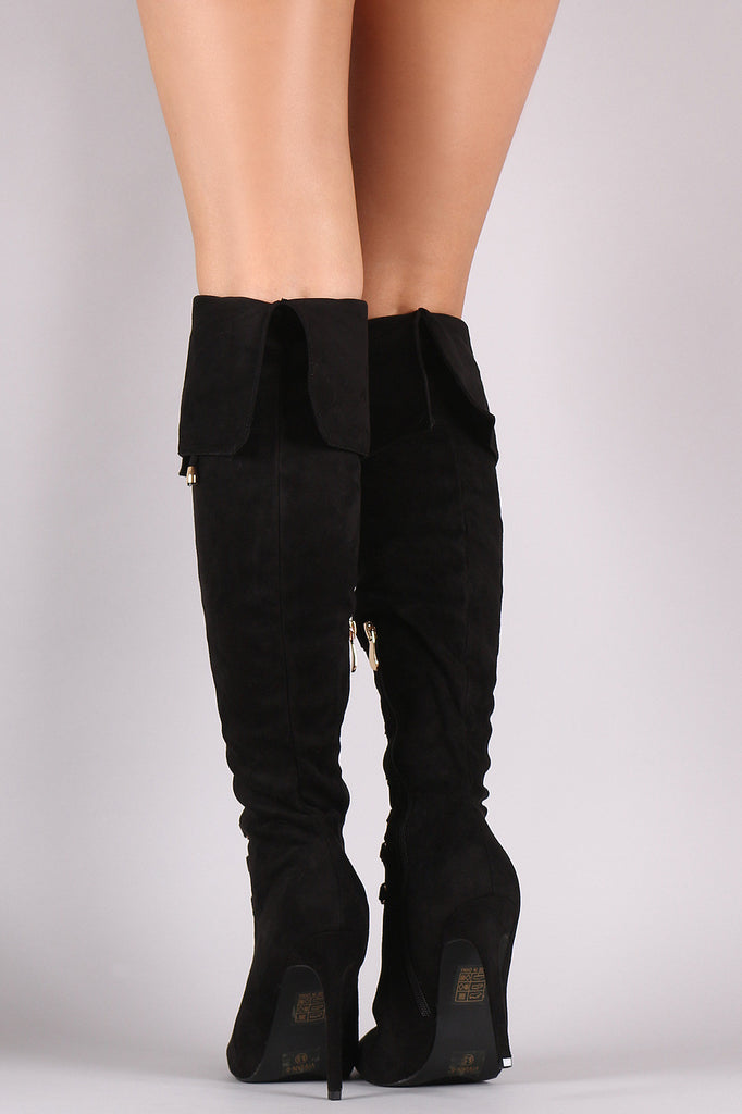 Suede Pointy Toe Lace Up Stiletto Over-The-Knee Boots - Rich Girl's Closet - 14