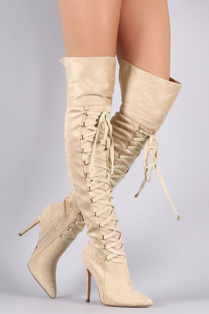 Suede Pointy Toe Lace Up Stiletto Over-The-Knee Boots - Rich Girl's Closet - 9