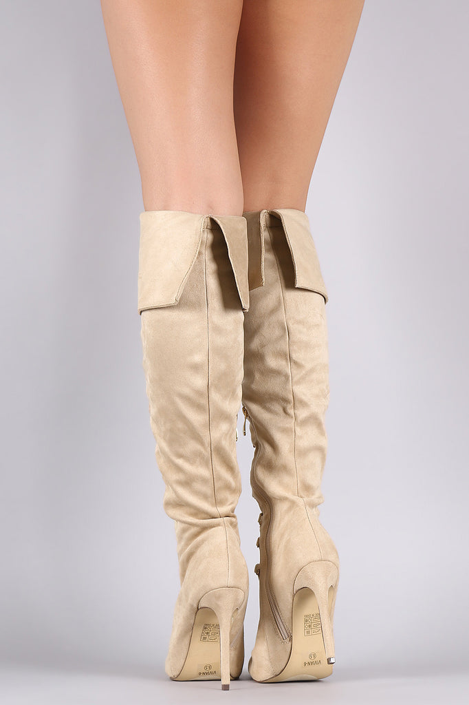 Suede Pointy Toe Lace Up Stiletto Over-The-Knee Boots - Rich Girl's Closet - 7