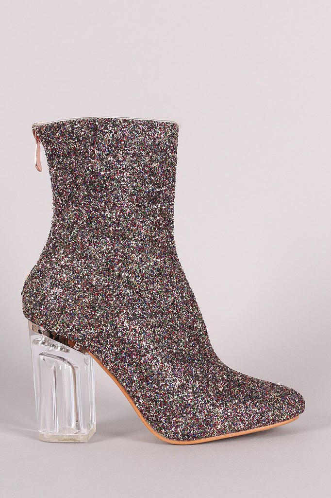 Glitter Chunky Lucite Heeled Ankle Boots - Rich Girl's Closet - 12