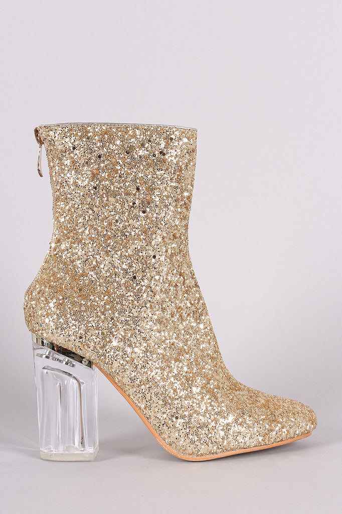 Glitter Chunky Lucite Heeled Ankle Boots - Rich Girl's Closet - 14
