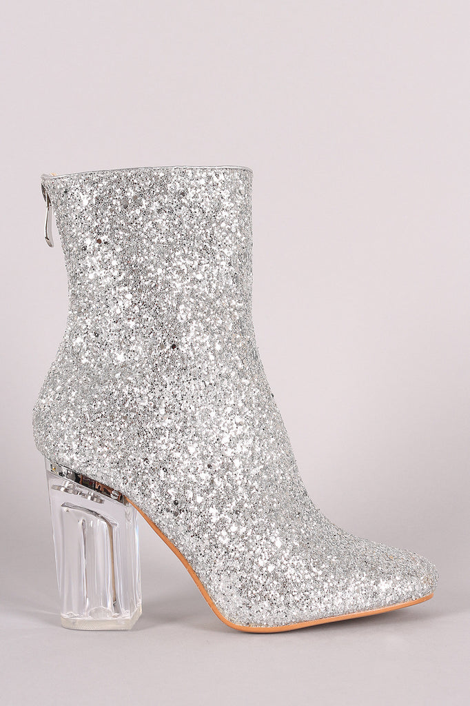 Glitter Chunky Lucite Heeled Ankle Boots - Rich Girl's Closet - 8