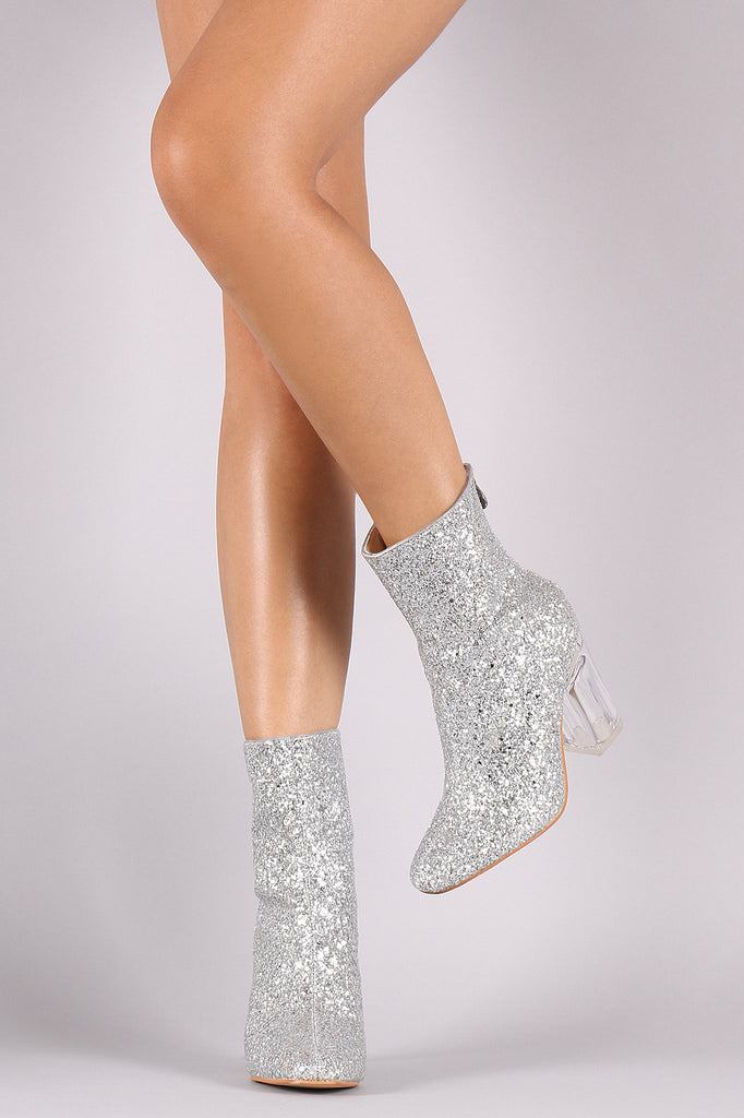 Glitter Chunky Lucite Heeled Ankle Boots - Rich Girl's Closet - 1